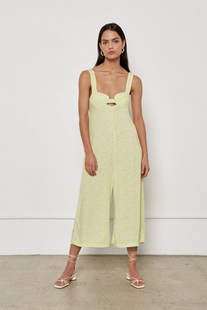 Jenny Jumpsuit - Lime Wildflower