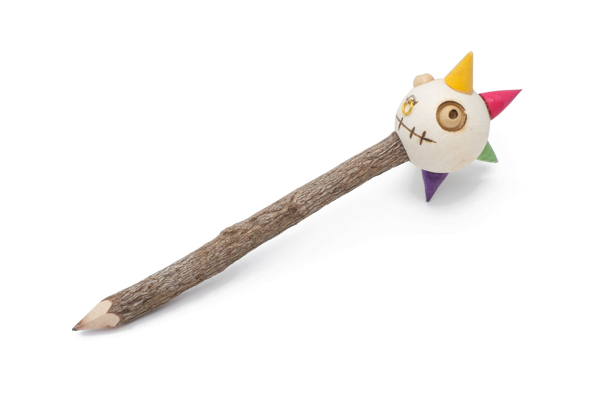 Wooden Pencil with Crazy Doll Head - Funky Punk Man