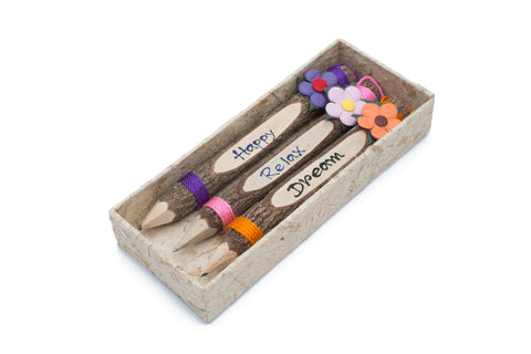 "Branch Pencil with Flower 7"" Set of 3 (Happy,Relax,Dream)"
