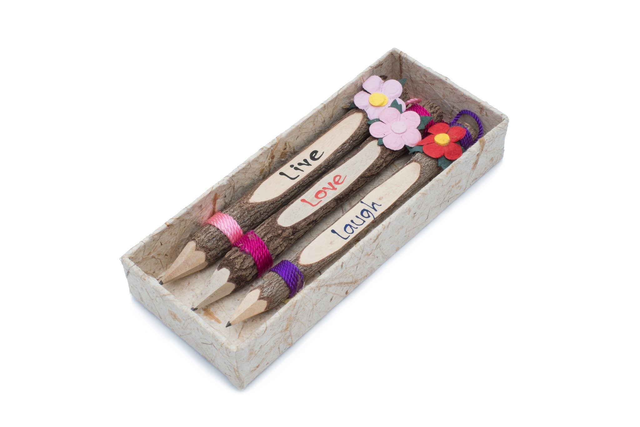 "Branch Pencil with Flower 7"" Set of 3 (Live,Love,Laugh)"
