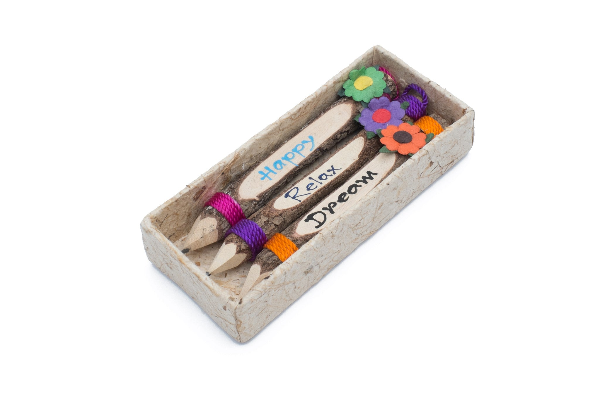 "Branch Pencil with Flower 5"" Set of 3 (Happy,Relax,Dream)"