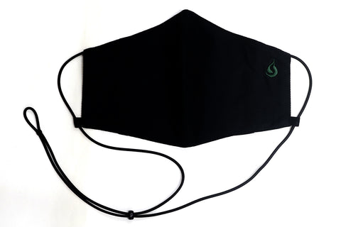 Adjustable Fabric Face Mask - Green on Black