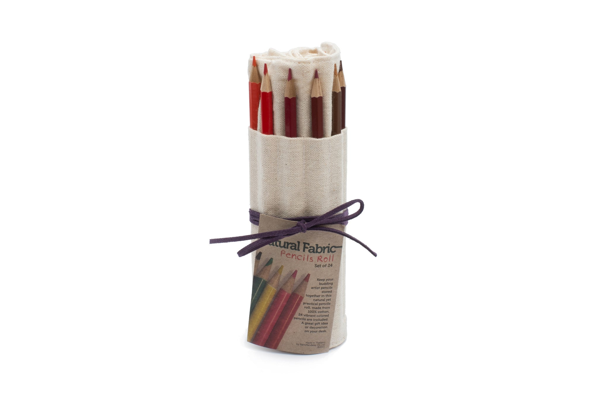 24 Colored Pencils - Natural Fabric with Purple Leather Cord