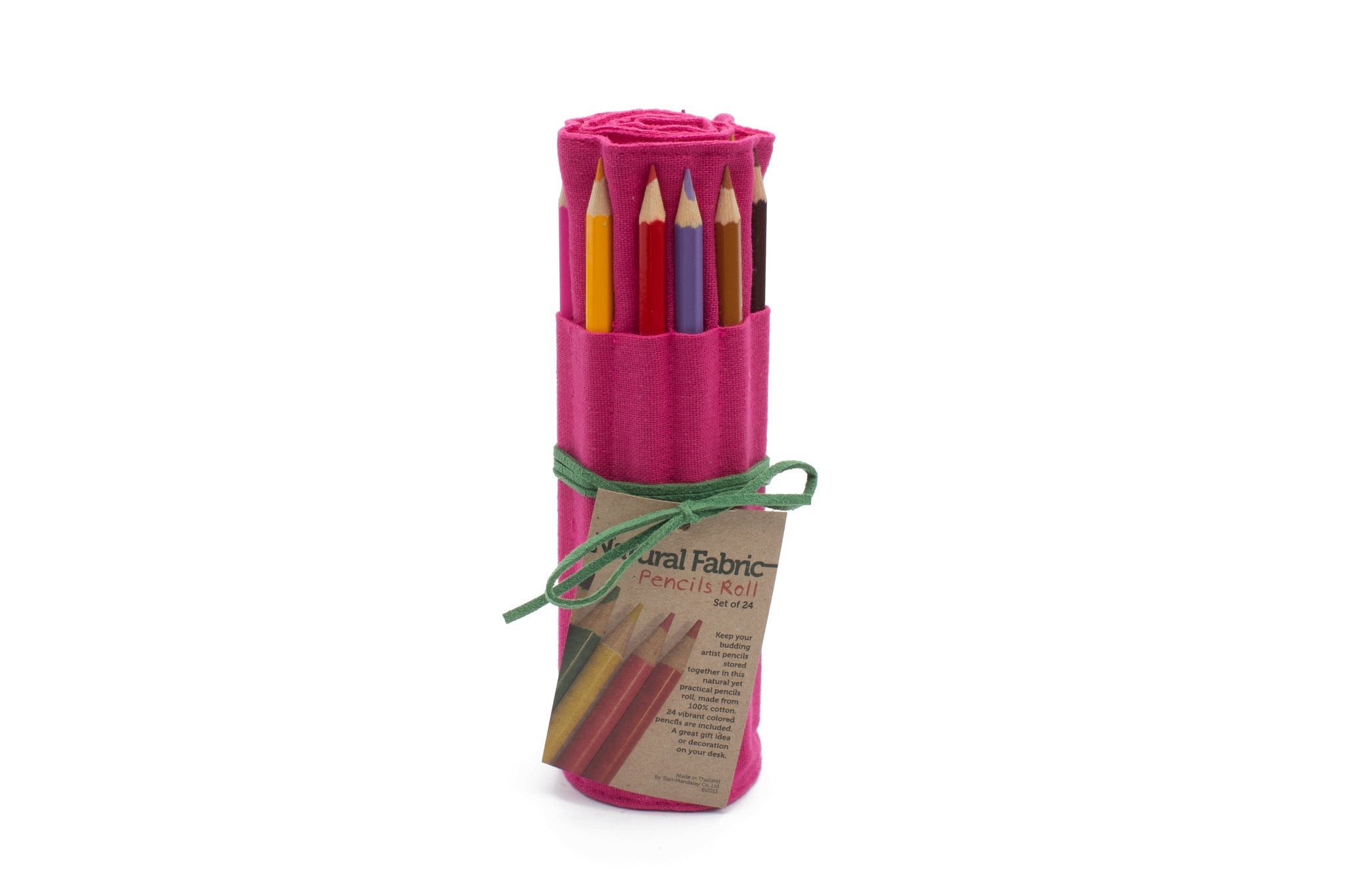 24 Colored Pencil - Pink Fabric with Green Leather Cord