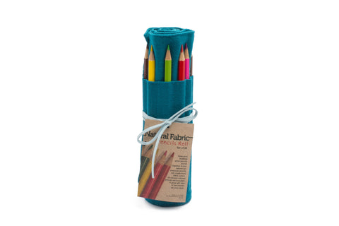 24 Colored Pencil - Teal Fabric with Light Blue Leather Cord