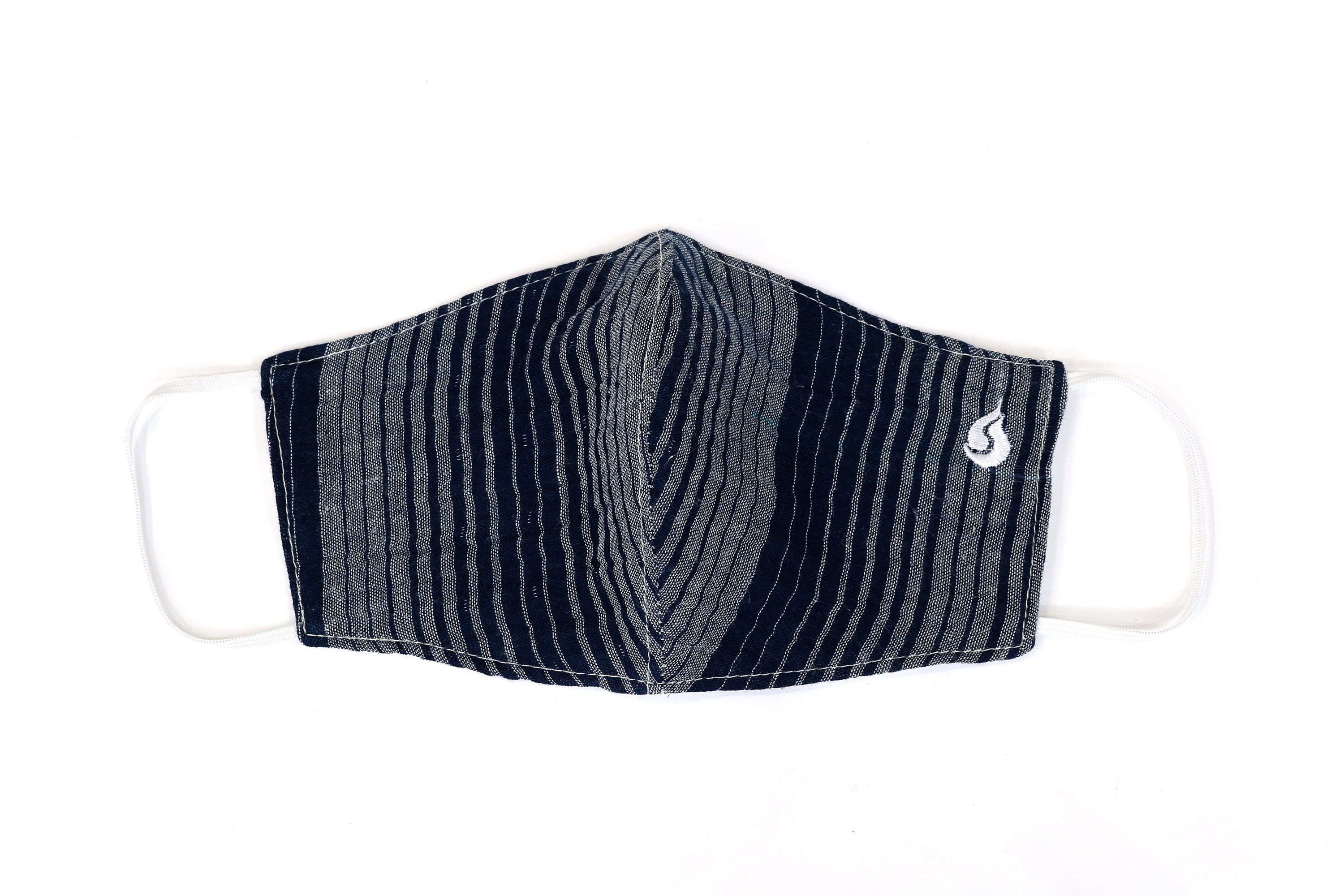 Thin Stripe Fabric Face Mask - Midnight Black