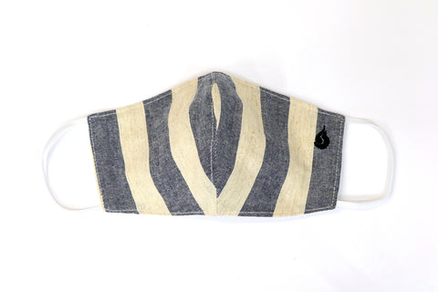 Thick Stripe Fabric Face Mask - Stone Gray