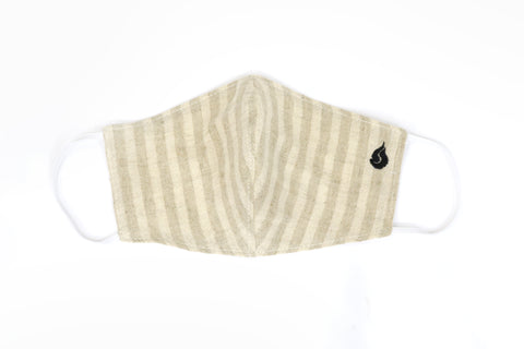 Thin Stripe Fabric Face Mask - Sandstorm
