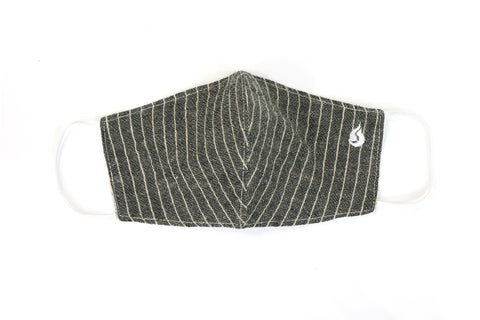 Thin Stripe Fabric Face Mask - Slate Gray