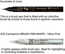 Load image into Gallery viewer, ZIG Inktober Brush Pen 2pc St White & Black