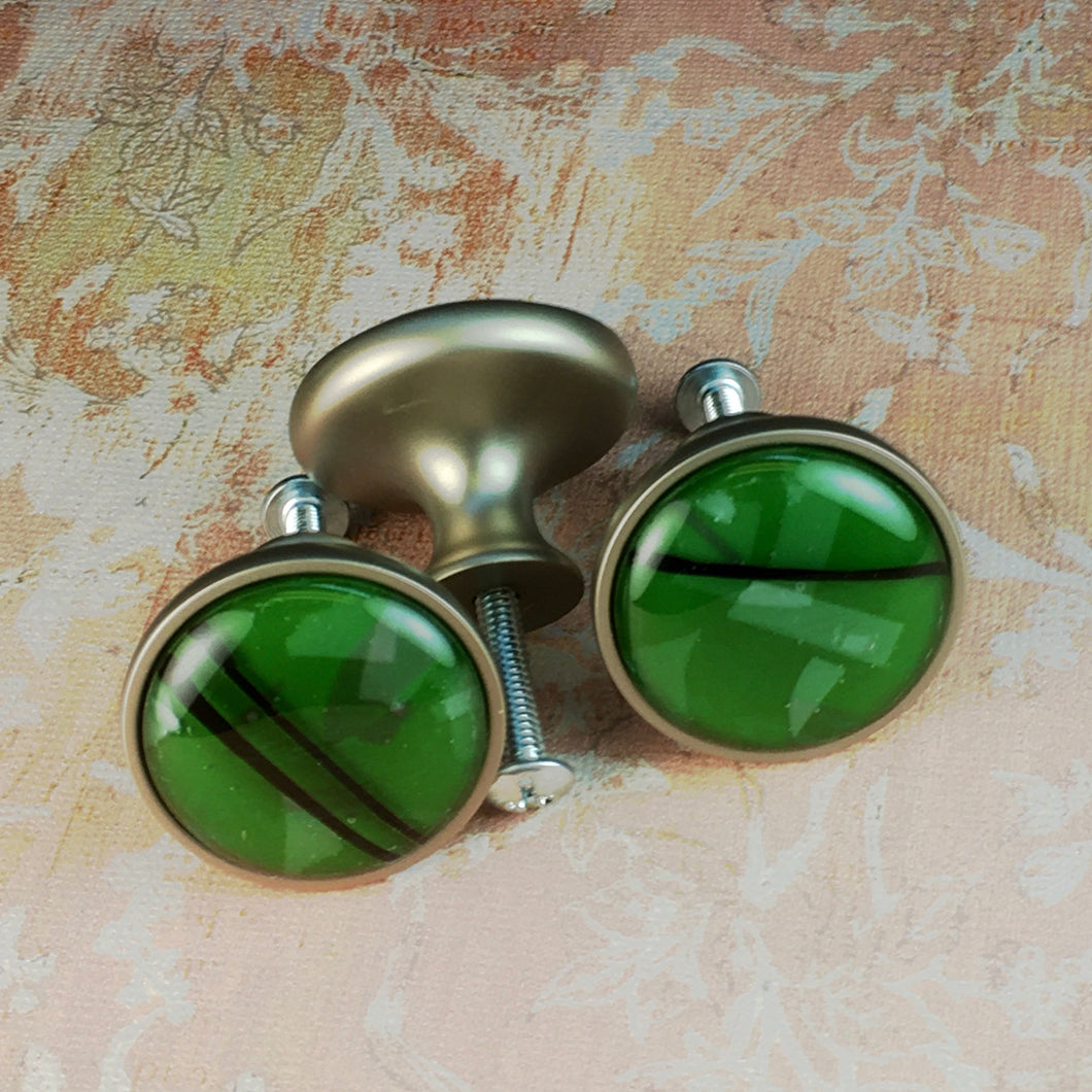 Abstract Forest Green Drawer Knobs