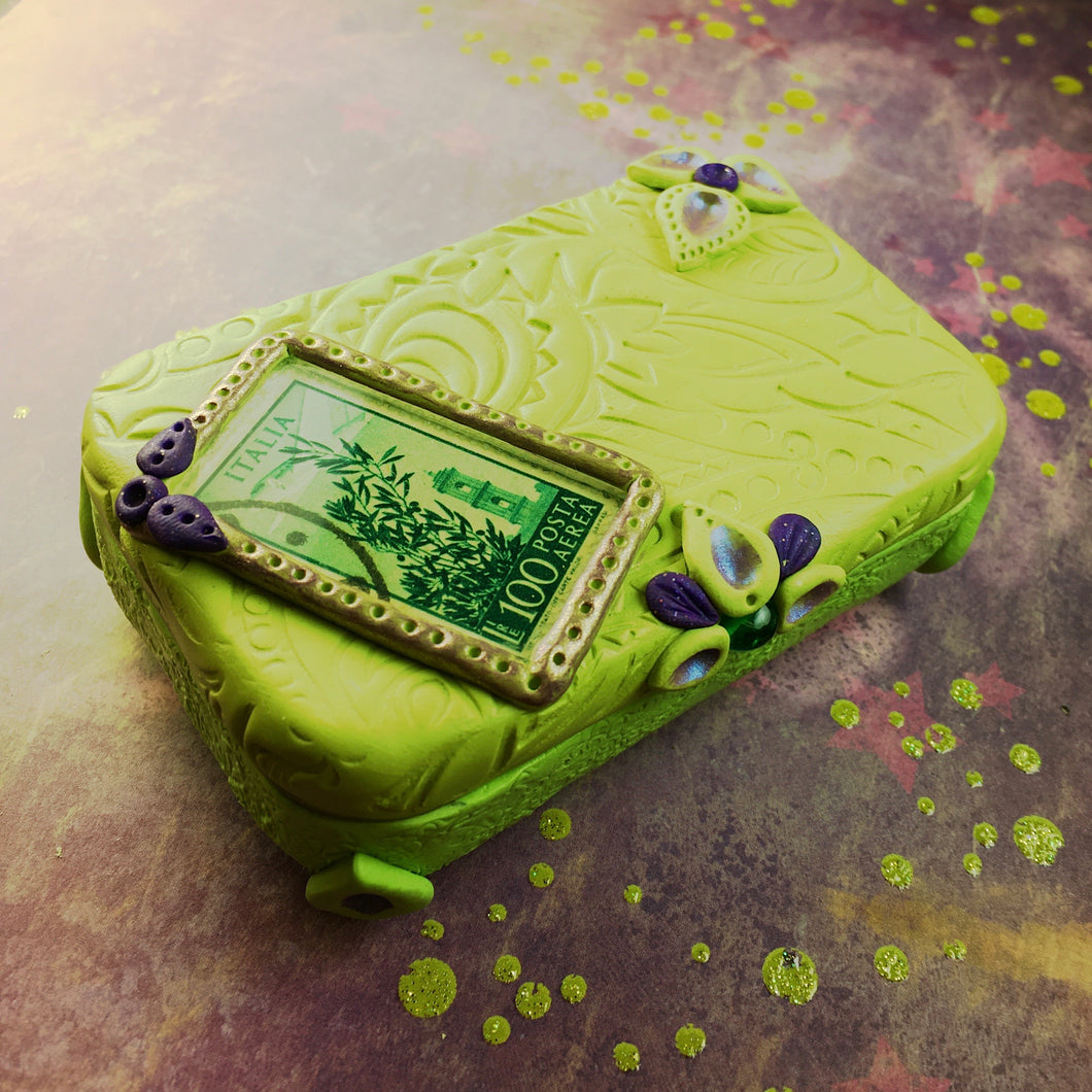 Green Vintage Stamp Treasure Tin