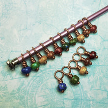 Load image into Gallery viewer, Rainbow Spatter Lace Stitch Marker Set