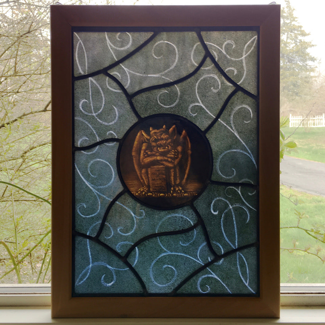Gargoyle Stained Glass Panel