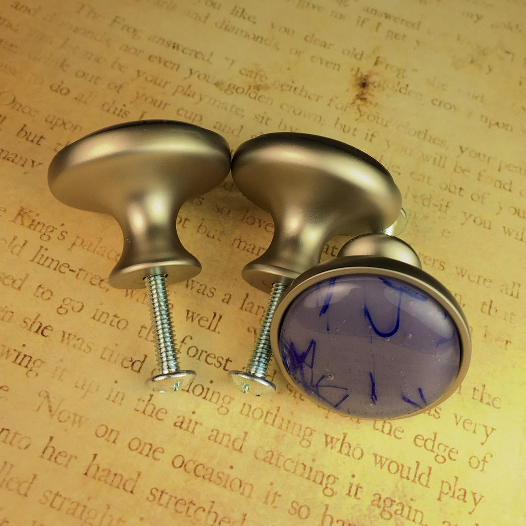 Purple and Blue Glass Drawer Knobs