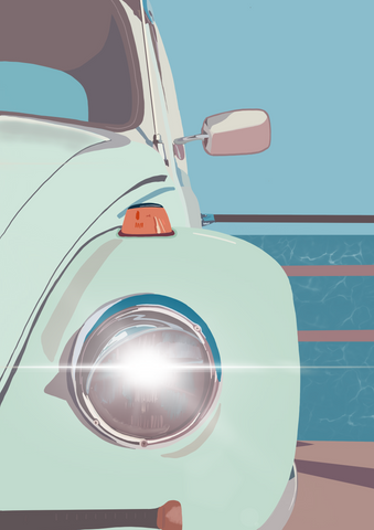 Retro Beetle Car Print
