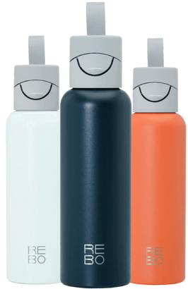 REBO Bottles of three colors ocean blue, coral orange and atoll turquoise