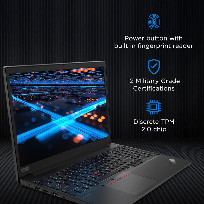 Lenovo ThinkPad E15- 20RD007XAD Laptop with Intel Core- i5 10210U Processor / 8GB RAM / 1TB HDD / DOS / 2GB AMD Radeon RX640 Graphics / Black / 1 Year Warranty