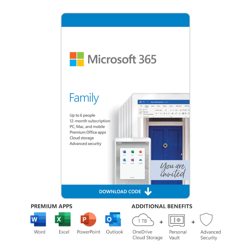 MICROSOFT OFFICE 365 FAMILY - UP TO 6 USERS PC, MAC AND MOBILE