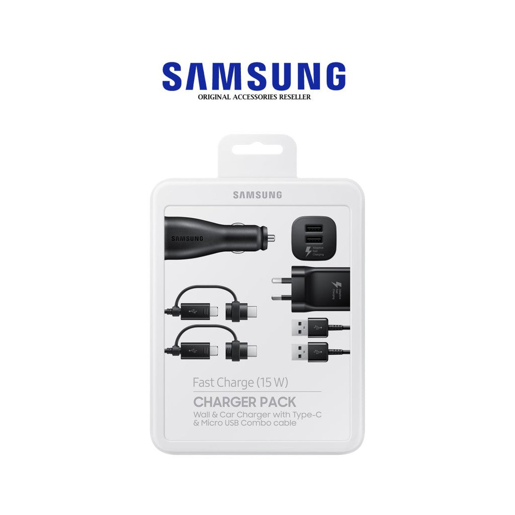 Samsung Fast Charge Charger Pack - Wall & Car Charger with Type-C & Micro USB Combo Cable