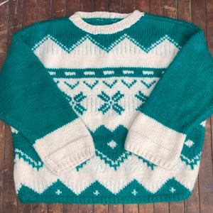 Green and White Sweater