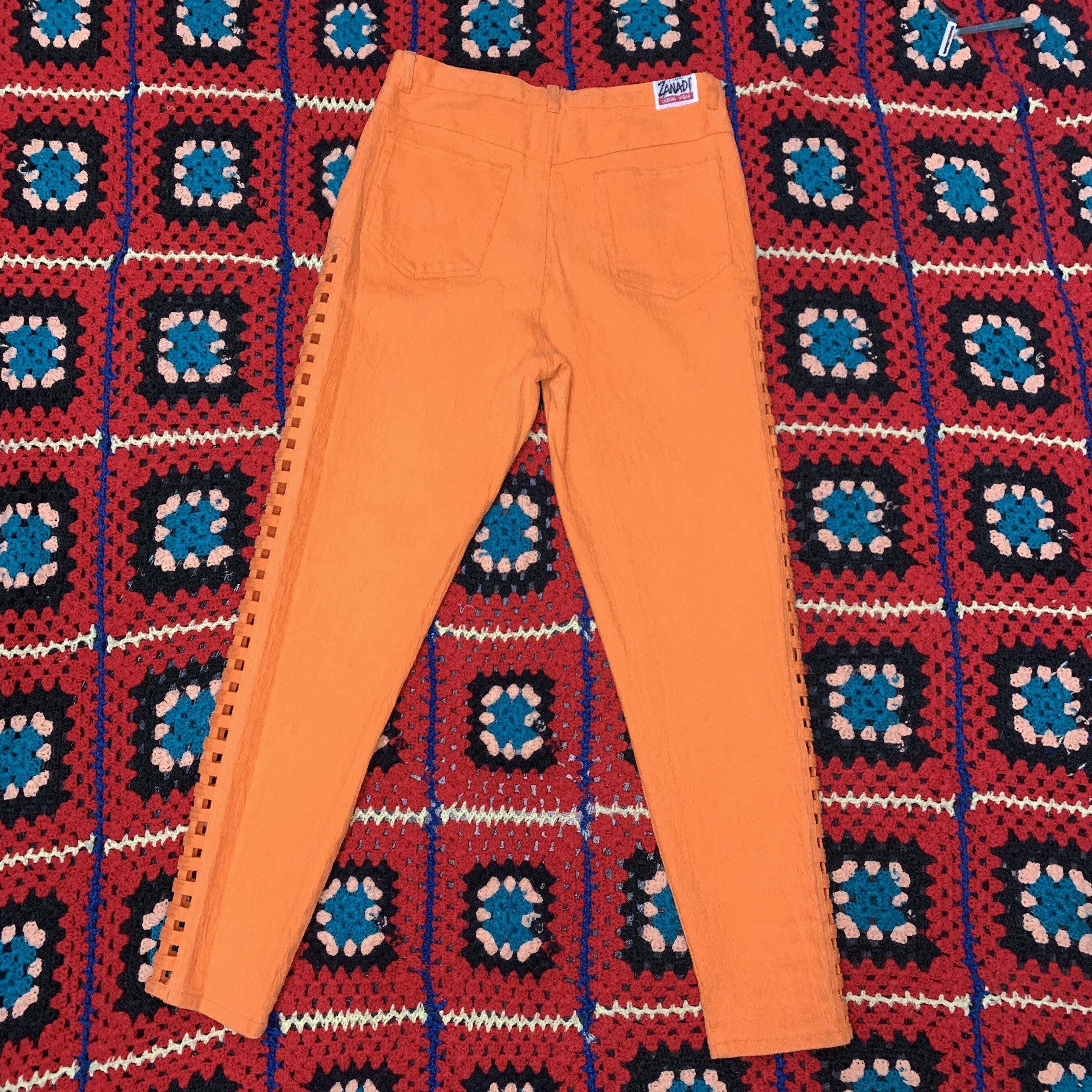High Waisted Vintage Orange Pants With Cut Out Sides