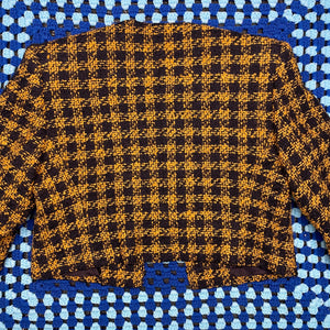 Yellow Plaid Cropped Jacket