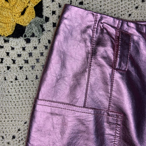 Shinny Pink Zip-Up Skirt