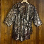 Load image into Gallery viewer, Gold Leopard Wrap Shirt