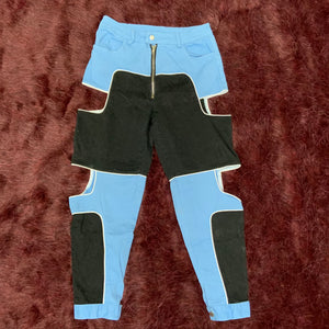Blue and Black Cut Out Pants