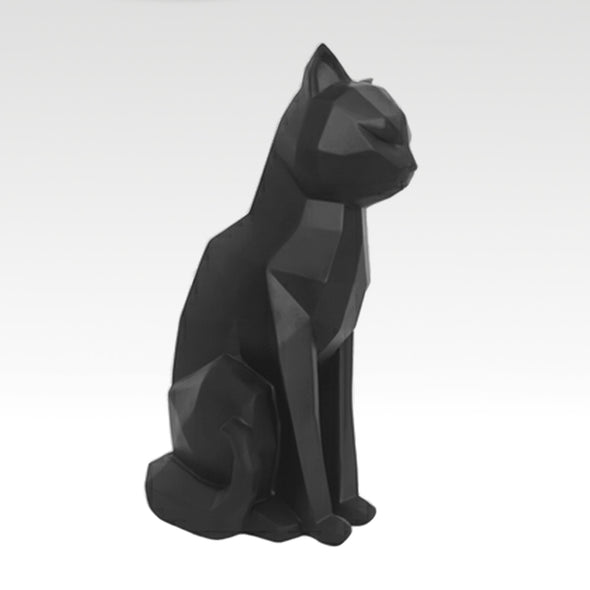 Origami Cat Sitting in Black