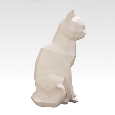 Origami Cat Sitting in White