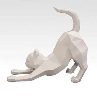 Origami Cat Stretching in White