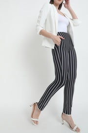 Black White Stripe High Waist Straight Pants