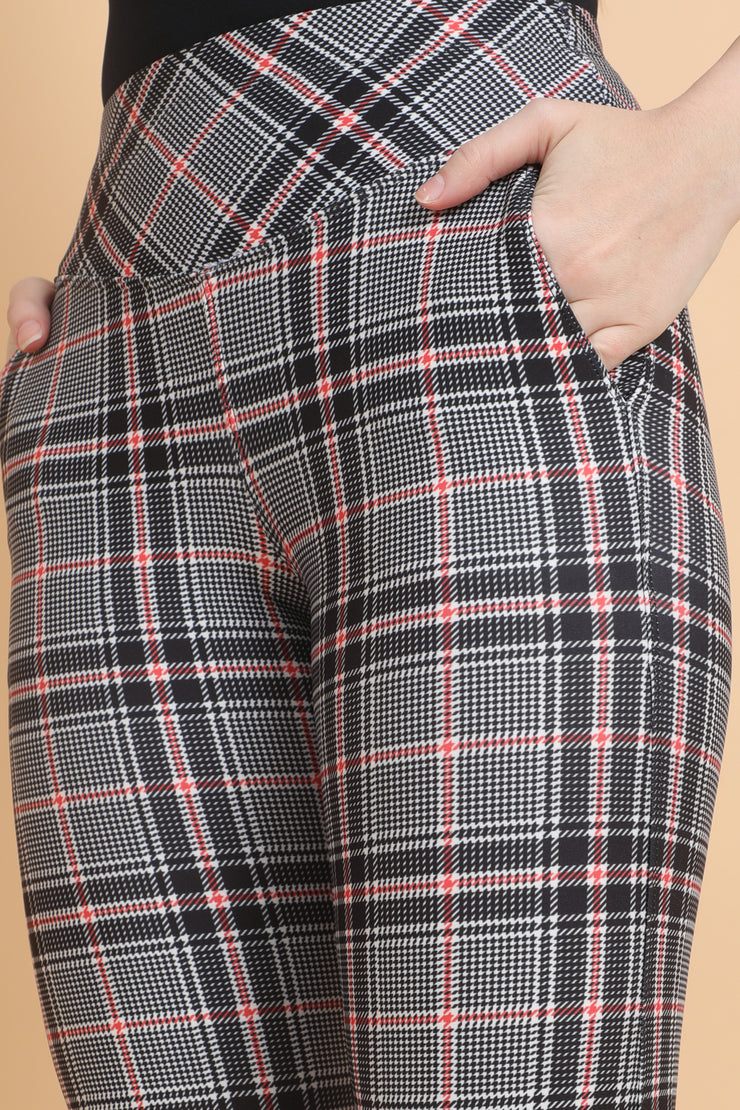 Red Black Broad Check Bootcut Formal Pants