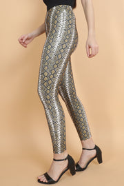 Mustard Snake Print High Waisted Leggings