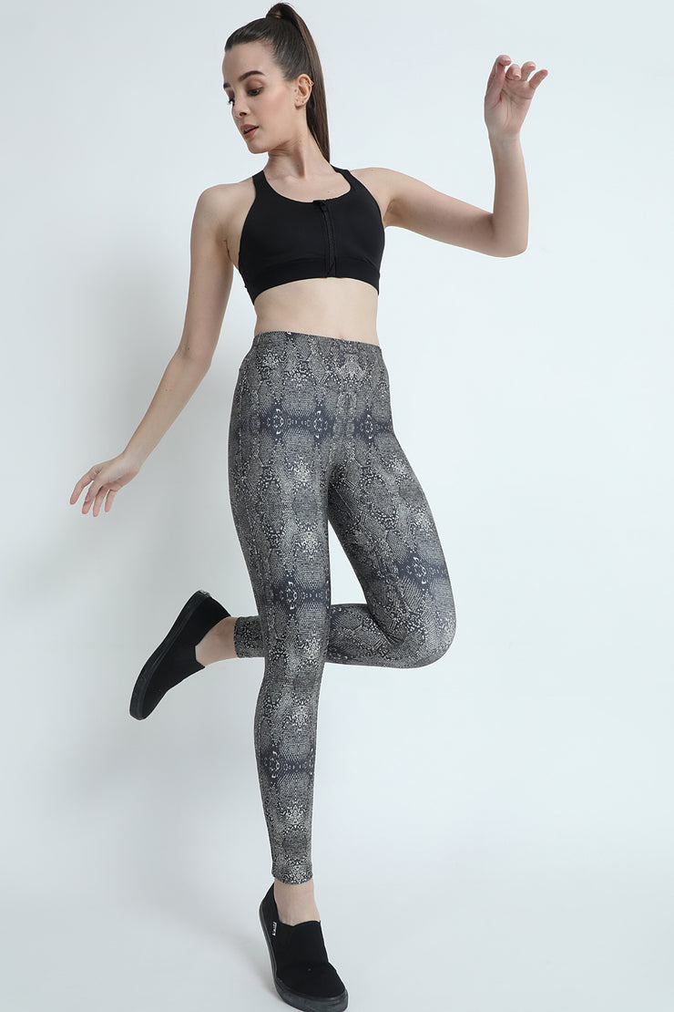 Green Snake Print High Waisted Gym Tights