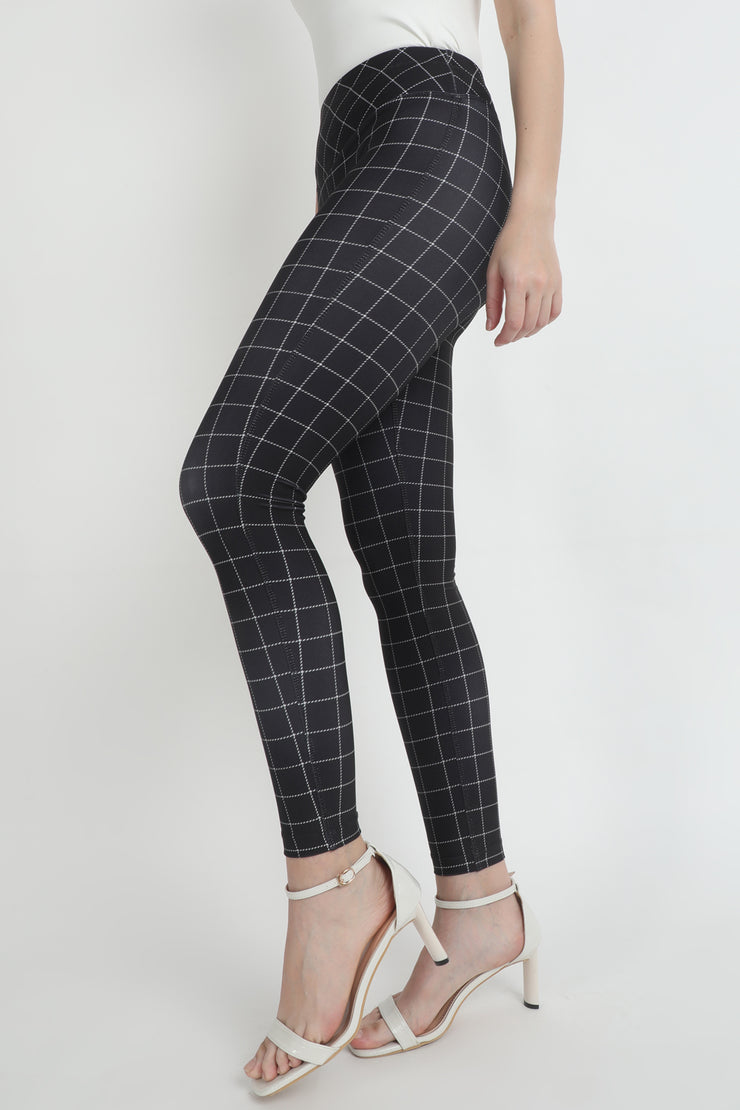 Black High Waist Checkered Leggings