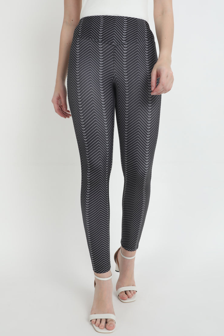 Black Directional Printed High Waist Jeggings