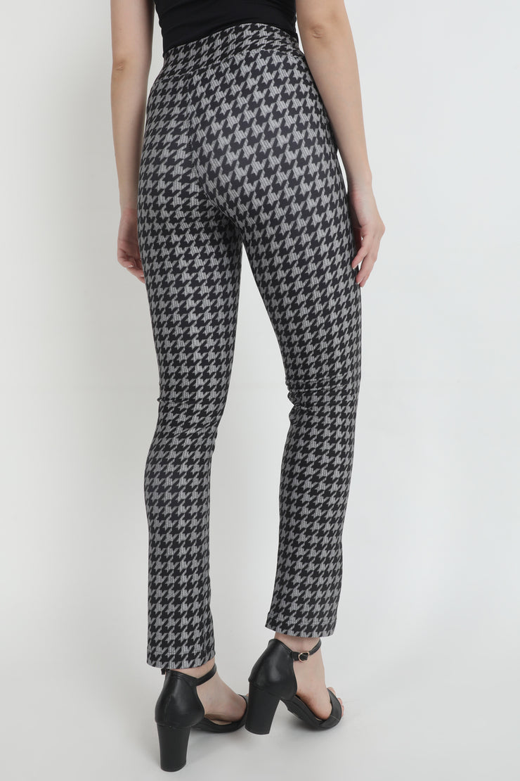 Grey Houndstooth High Waist Printed Pants