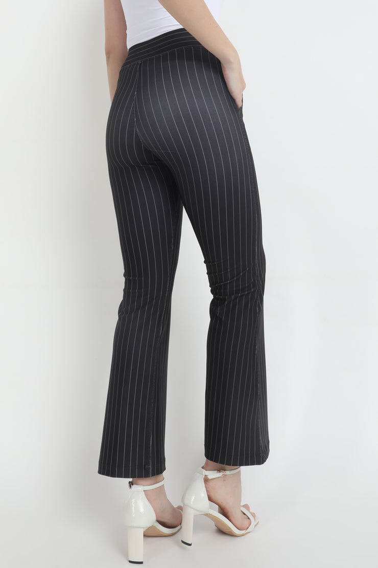 Black Pinstrip High Waisted BootCut Pants