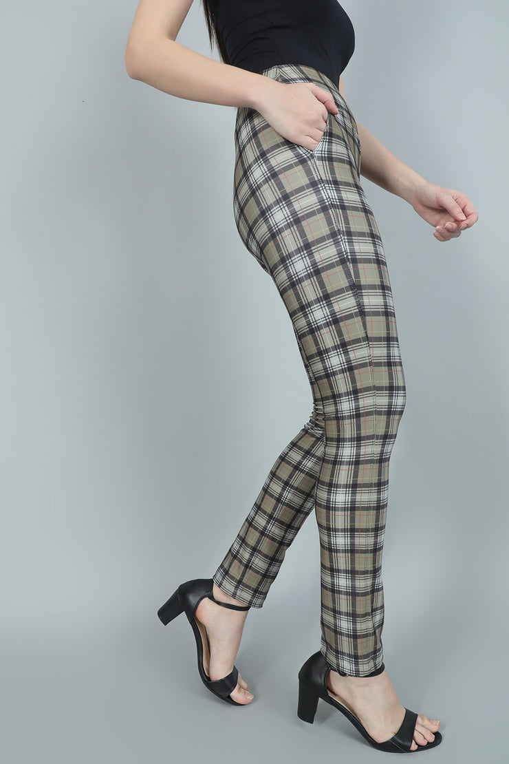 Olive Green Checked High Waist Trousers