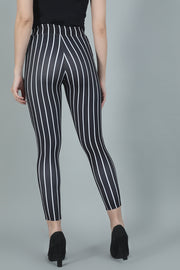 Black White Striped High Waist Jeggings