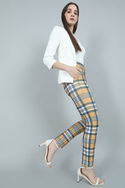 Yellow Blue Check High Waisted Trousers