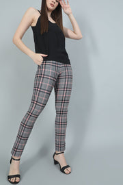 Red Black Broad Checked Formal Pants