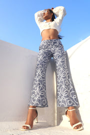Denim Chain Printed Bootcut Trousers