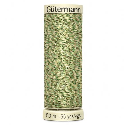 Gutermann Green/Gold Metallic Effect Thread 50m (400)