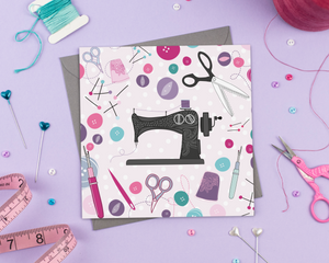 Vintage sewing machine - Greeting Card - Two For Joy Illustration
