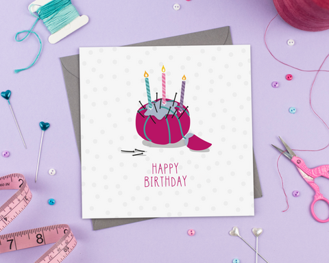 Birthday pincushion - Greeting Card - Two For Joy Illustration