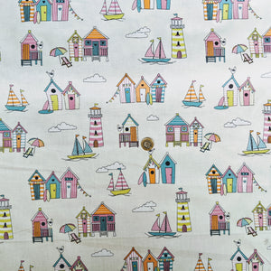 Seaside beach huts - 100% cotton